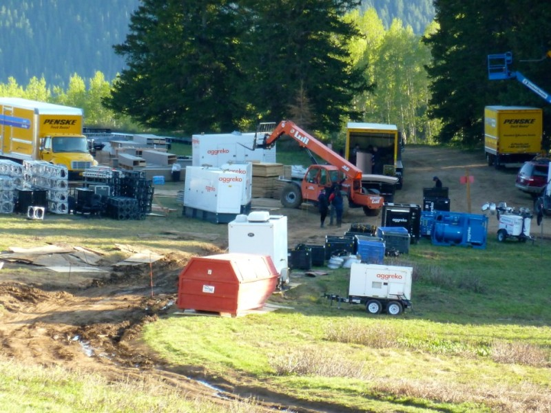 The wedding site on Monday, June 9. A lot generators were hauled up the road to make the event possible.