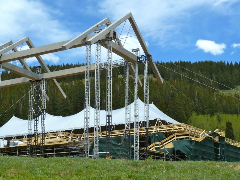 A large contingent of workers were busy at the wedding site on Monday, breaking down what took a lot of time to put up.