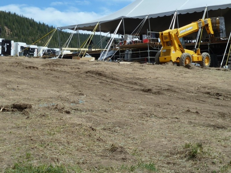 The state of the high country meadow in Little Annie Basin on Monday, June 16, 2014, two days after a wedding. The area shown is behind the main tent, and shows the ill effects of nine days of steady truck and construction-machine traffic.