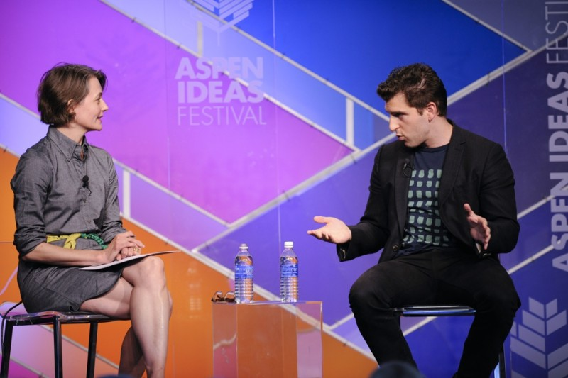 Brian Chesky, CEO and co-founder of Airbnb, right, speaks with Jennifer Bradley of the Brookings Institution, on Sunday, June 29. 2014 at the Aspen Ideas Festival.