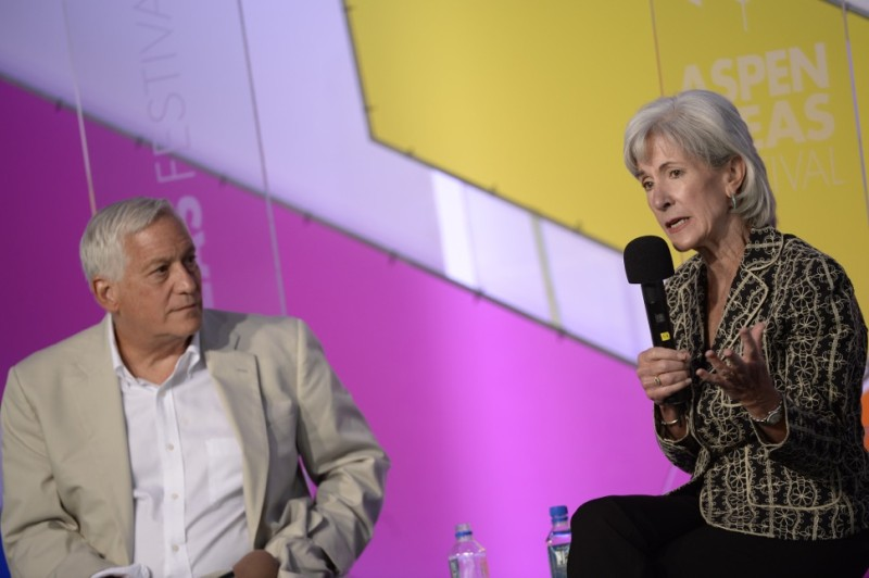Walter Isaacson, president and CEO of The Aspen Institute, with Kathleen Sebelius, on Friday, June 27, 2014 at the Aspen Ideas Festival.