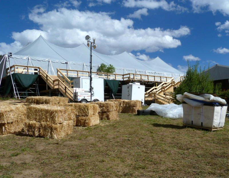 A view of the side of the big tent on the Little Annie wedding site, on June 13.