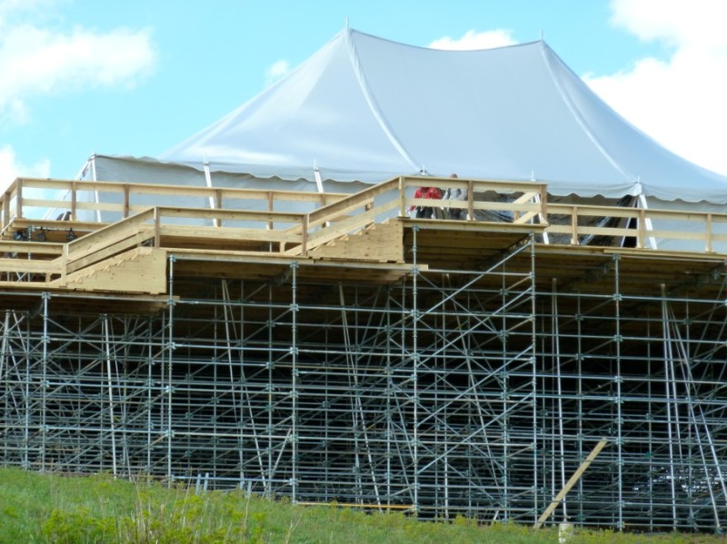 It took a significant amount of scaffolding to create a solid platform for the main tent at the Little Annie wedding site.