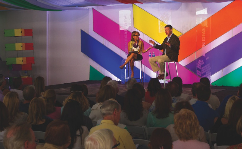 Katie Couric, left, interviews Colo. Gov. John Hickenlooper, on July 1, 2014 at the Aspen Ideas Festival.