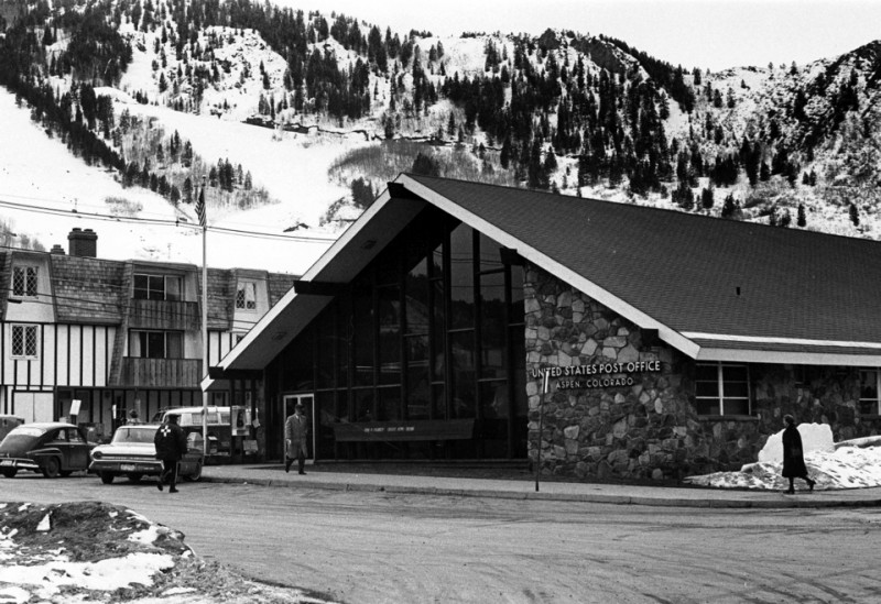 Aspen's second post office (the first was in the Elk's Building) was built on the corner of Spring St. and Hyman Ave. in the early 1960s. The post office had moved to its present location by the early 1980s. One could argue that the design of the building was modern and cutting edge for its time.