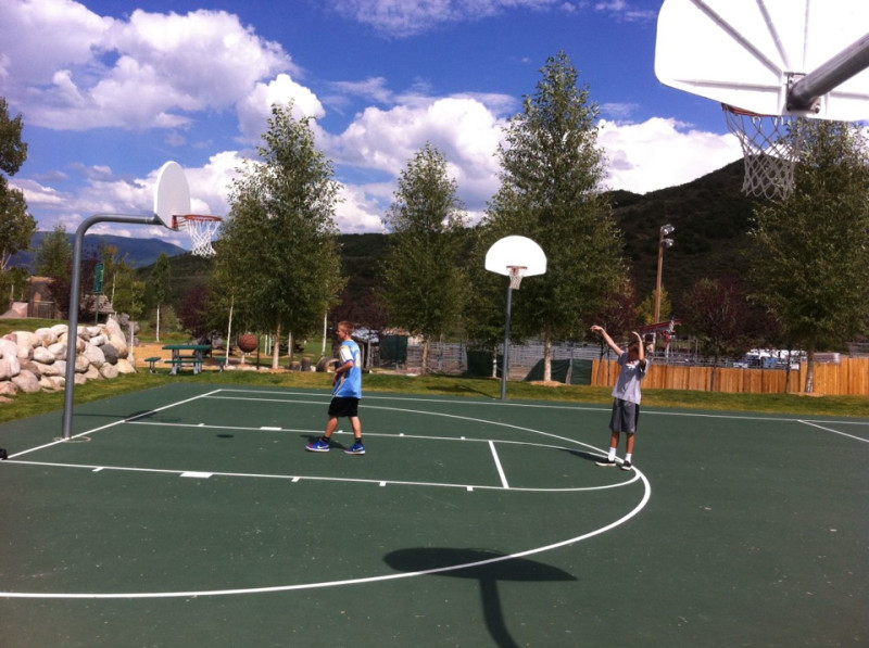 Kids play a game of pick-up basketball recently at the Snowmass Recreation Center. The Rec Center is the center of the town's entryway plan, which could see a new visage or some additional amenities in the future.