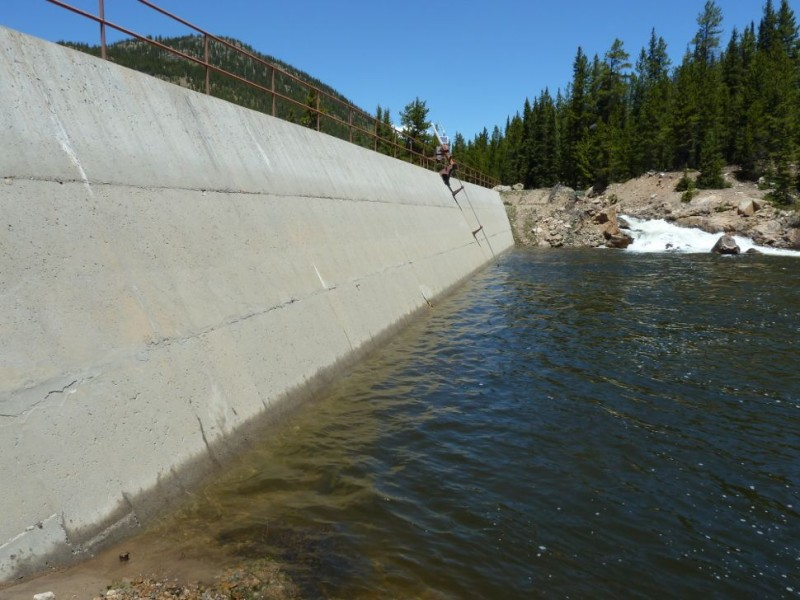 The dam across the main stem of the Roaring Fork River, just above Lost Man Campground. The dam is part of the system that diverts water from Lost Man Creek and the Roaring Fork to Grizzly Reservoir and into a tunnel under Independence Pass.