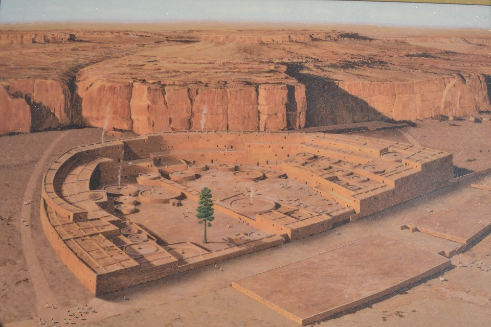 An artist's illustration shows the scope and scale of a Chacoan great house while this center for commerce and community was at its peak.