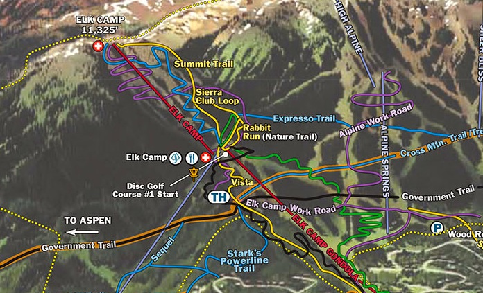 A detail of SkiCo's summer trail map of the Snowmass Ski Area.