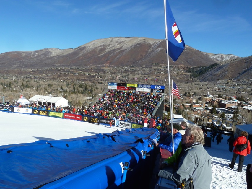 The spectator venue at the 2014 Aspen World Cup ski races.