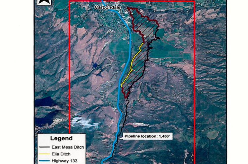 A graphic of that shows the route of the East Mesa Ditch, which diverts water from the Crystal River nine miles south of the river's confluence with the Roaring Fork River.