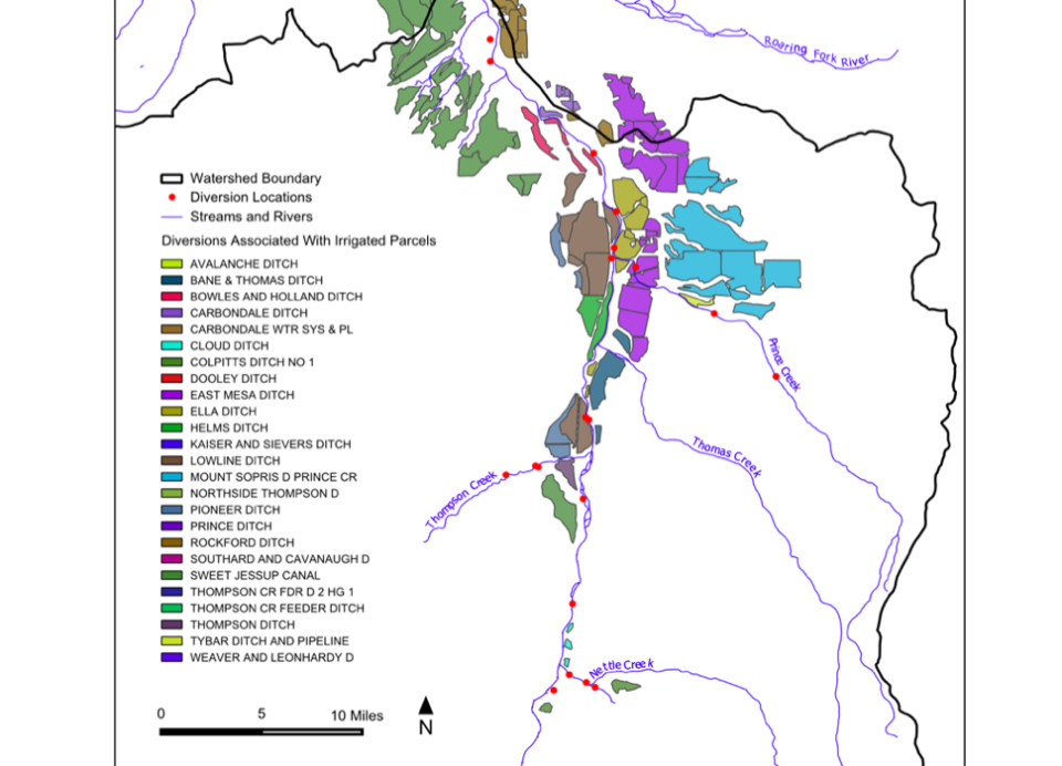 The lands irrigated by the East Mesa Ditch are shown in purple, according to a technical report from Lotic Hydrological called Water Rights Allocation and Accounting Model Development for the Lower Crystal River.