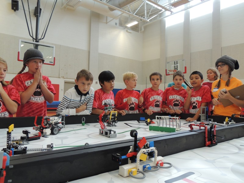 The Grizzlies, from Glenwood Springs Elementary School, watch their robot intently at the recent mountain qualifier.