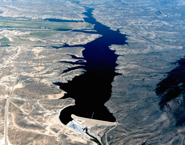 An aerial view of Wolford Reservoir, formed by Ritschard Dam. The Colorado Water Plan outlines many different types of projects, including reservoirs and dams, that need funding. Source: Colorado River District
