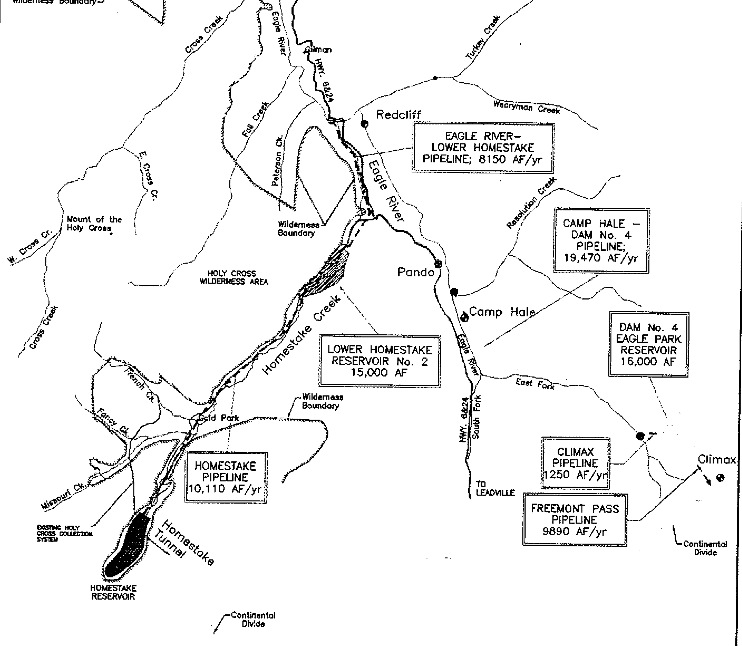 A map of some of the elements of the Eagle River MOU, including Lower Homestake Res. No. 2