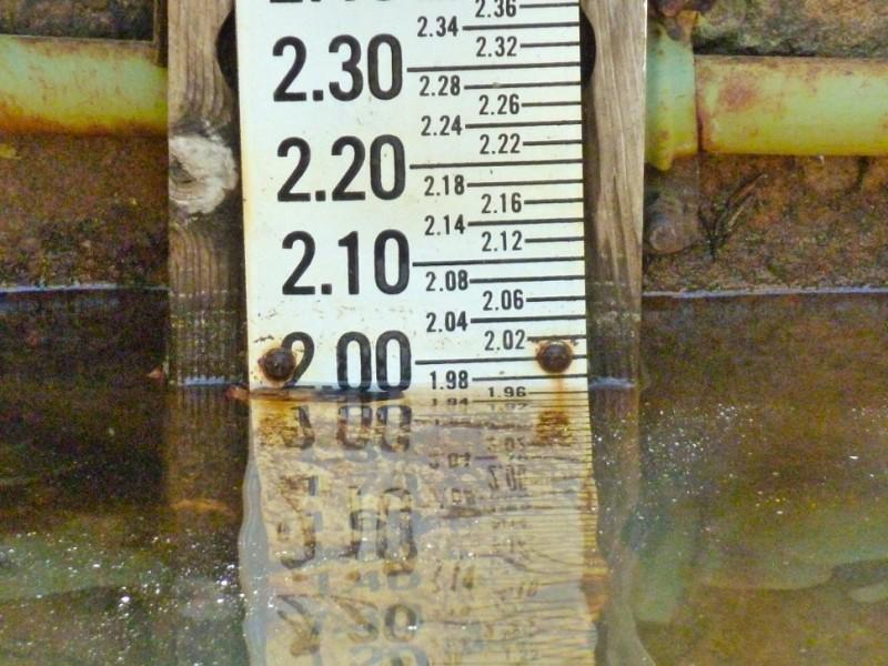 A river gauge on the upper Roaring Fork River.