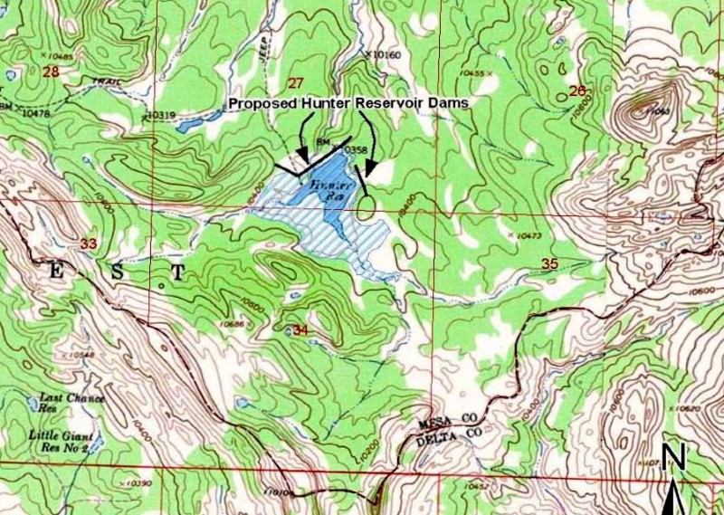 A detail from a USFS map showing the potential expansion of Hunter Reservoir on Grand Mesa.