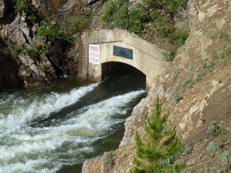 The east end of the Independence Pass tunnel, bringing water from the headwaters of the Roaring Fork River to the East Slope.