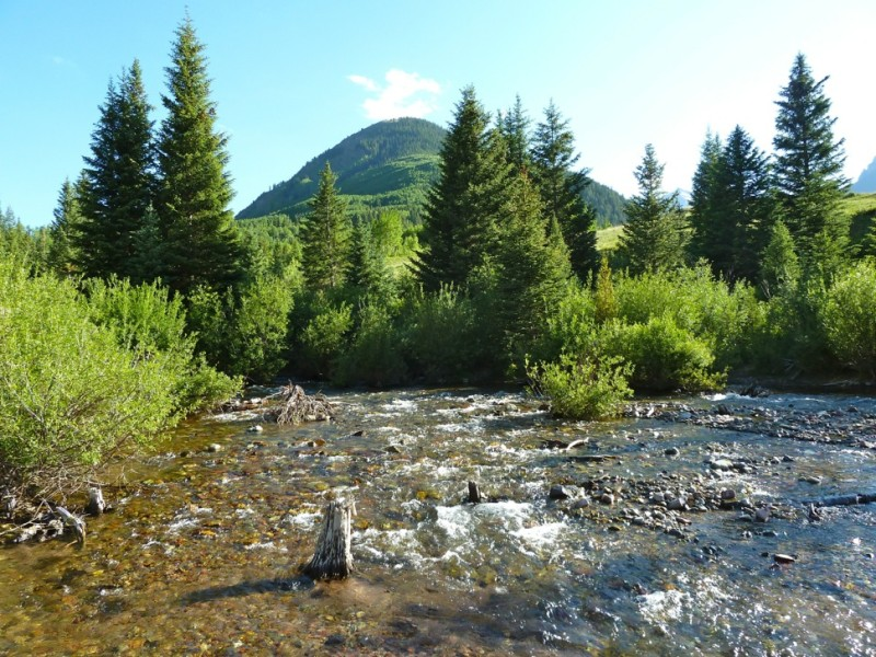Maroon Creek, just below the confluence of East and West Maroon creeks. The site is on U.S. Forest Service land and the potential reservoir would inundate land in the Maroon Bells - Snowmass Wilderness.