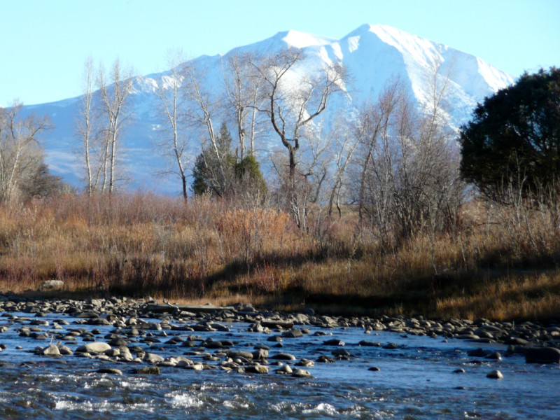 The Roaring Fork River with Mt. Sopris in the background.