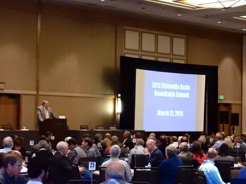 John Stulp, the chair of the Interbasin Compact Committee, addressing the statewide roundtable summit on March 12, at the Westin hotel in Westminster.