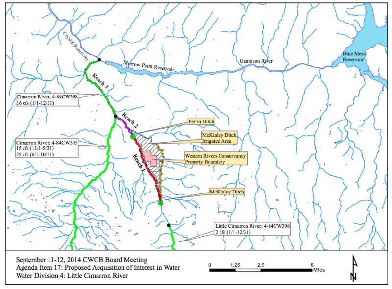 A map showing the location of the ranch property along the Little Cimarron.