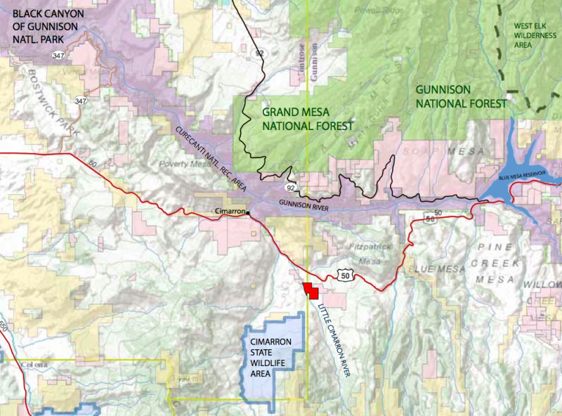 A map showing the vicinity of the property, in red, now owned by Western Rivers Conservancy, where the water rights are now owned by the Colorado Water Trust.