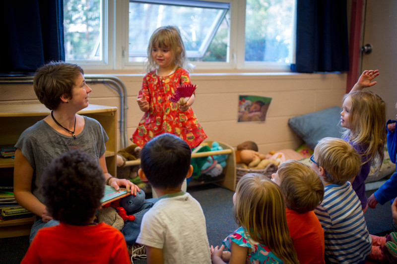 Karen Gallardo leads a show-and-tell at the Early Learning Center in Aspen. Studies show that preschool markedly improves children's development and raises their prospects for future success.