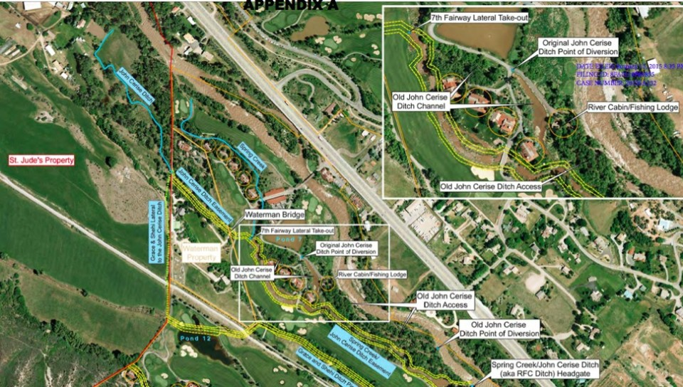 A map of the Roaring Fork Club showing the location of the RFC Ditch headgate and the St. Jude's Co. property.