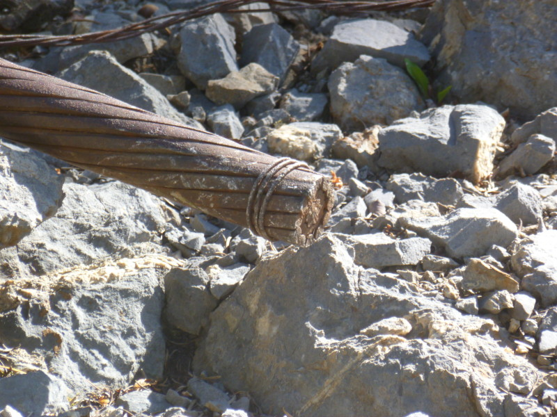 Is this evidence of an act of sabotage? Hard to say, but does appear to be a cable, on Spar Point, that was part of the Aspen Mountain Public Tramway, and it has been cut ...