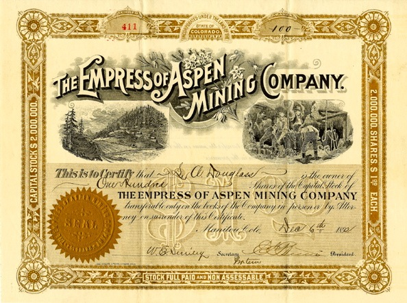 An 1892 stock certificate for 100 shares of The Empress of Aspen Mining Company typifies the grand style of the Victorian era. On the left of the certificate is a drawing of what appears to be the top of Tourtelotte Park.