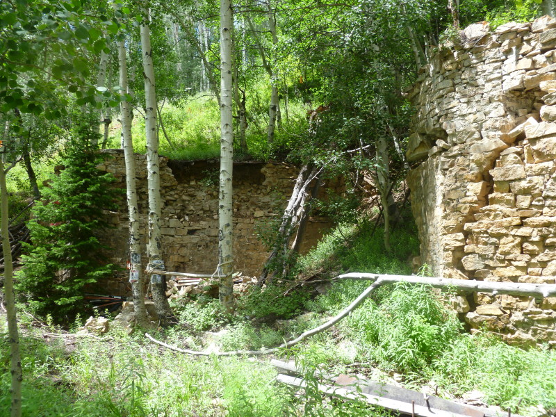Stone wall foundation of the Little-Percy tram spur at the top of Zaugg that t-boned the Aspen Public Tramway, now known as the Jimi Hendrix shrine.