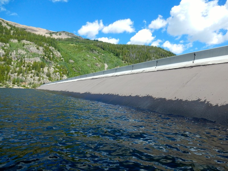 The dam that forms Homestake Reservoir on Homestake Creek, a tributary of the Eagle River. An agreement allows for more water to be developed as part of this transmountain diversion project.