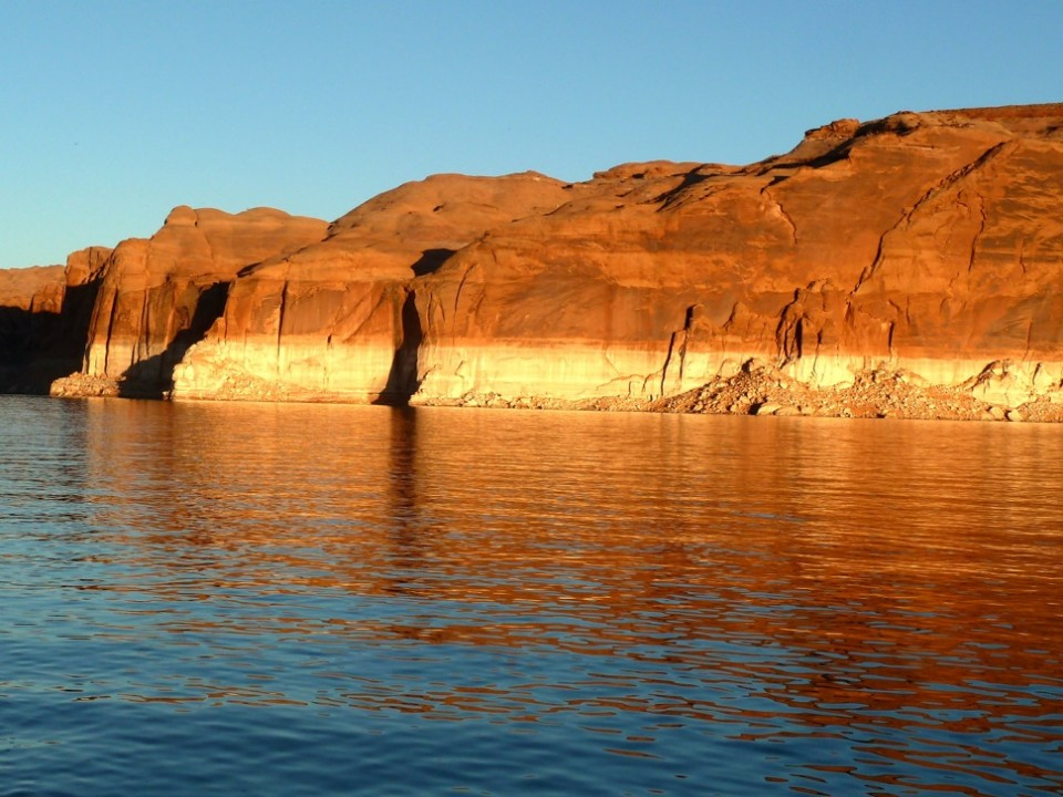 A key consideration for water managers in the west is how keep enough water in Lake Powell, above, and in Lake Mead, to allow the Colorado River water supply system to continue to function.