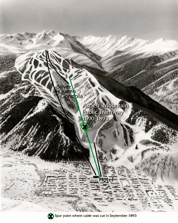 The route of the Aspen Public Tramway on Aspen Mountain, shown in green, went up Little Nell, over Kleenex Corner, and up Spar to the edge of the Tourtelotte Park mining camp. The cable from the tram can be found today, where it was cut above Kleenex Corner on what was called Spar Point.