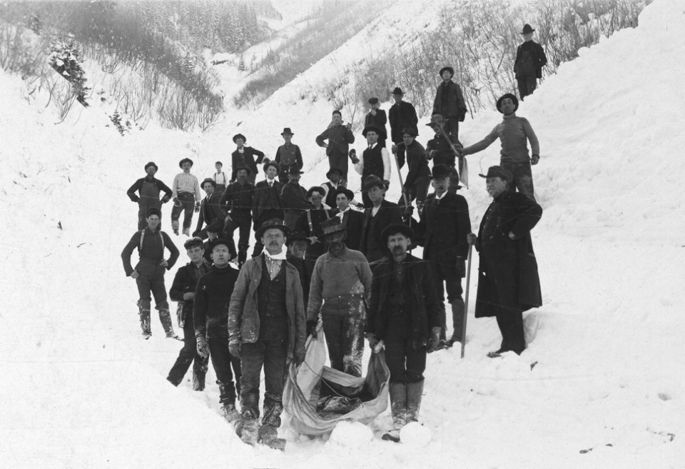 Working men going up or down Aspen Mountain in the 1880s and 1890s could be caught in avalanches. In 1912, rescuers carry down a body dug from a slide in what is today Bingo Slot.