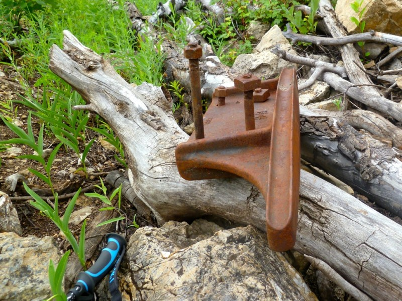 A thick, heavy, cast-iron cable carrier from atop a collapsed tram tower, which was found in the brush farther up the line from the tower. The piece was almost too heavy to pick up and probably weighed some 70 pounds.