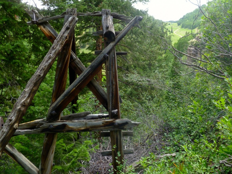 One  of two remaining Aspen Mountain Public Tramway towers in a closed, cliff area of Spar Dumps. Looking up, one can clearly see the one-time route of the tram up Spar Gulch to Tourtelotte Park.