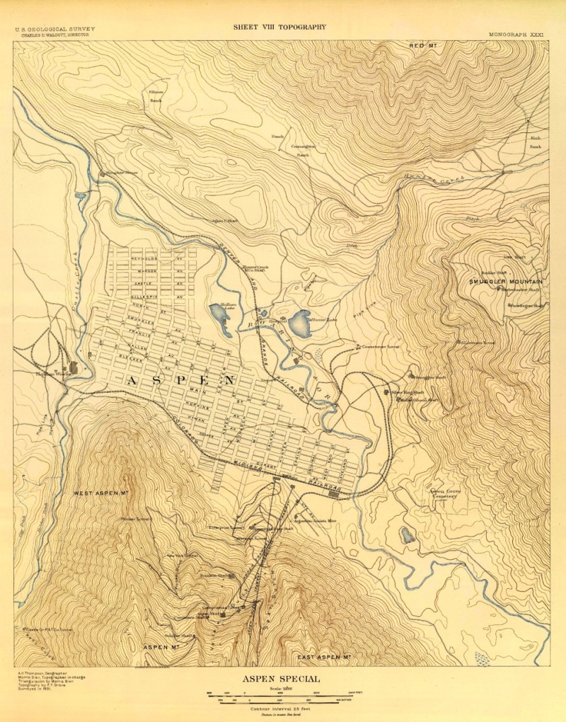 An 1891 topo map shows three trams that ran up Aspen Mountain. The Aspen Public Tramway on the left started at the top of Hunter Street and ran to Tourtelotte Park. The Midland and Rio Grande rail tracks looped Aspen to pick up ore from the various mines.