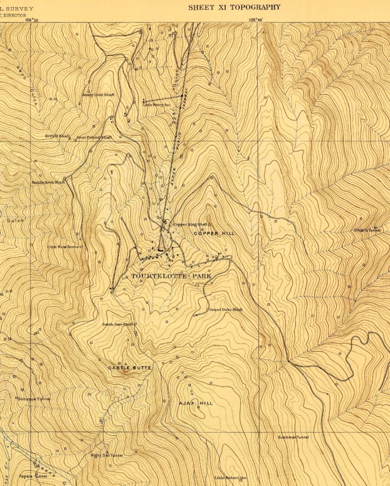 A map from 1891 shows the Aspen Public Tramway rising up Aspen Mountain. It also shows a spur line up to where today\'s Hendrix Shrine is on Zaugg Dump. Note that Little Percy is at the top of Zaugg and the map labels the top of Aspen Mountain as Ajax Hill.