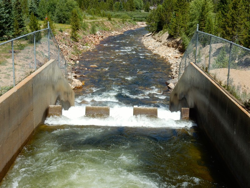 The outfall of the Bousted Tunnel, which delivers water from the Roaring Fork and Fryingpan rivers to the East Slope.