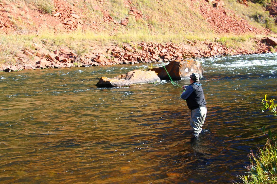 An angler in the Fryingpan River last fall, when the river was running about 300 cfs.
