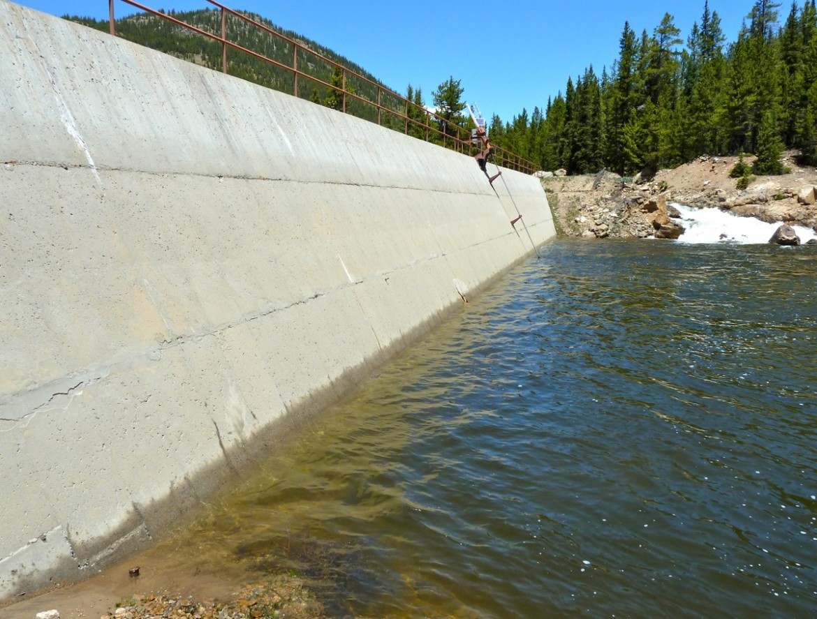 The dam across the main stem of the Roaring Fork River east of Aspen.
