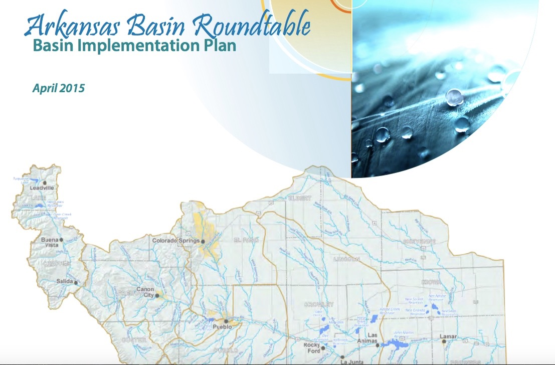"""The cover of the Arkansas Basin Roundtable's Basin Implementation Plan, completed in April 2015. Each of the basin roundtables developed a """"BIP,"""" but the Ark's is one of the most in-depth and complete."""
