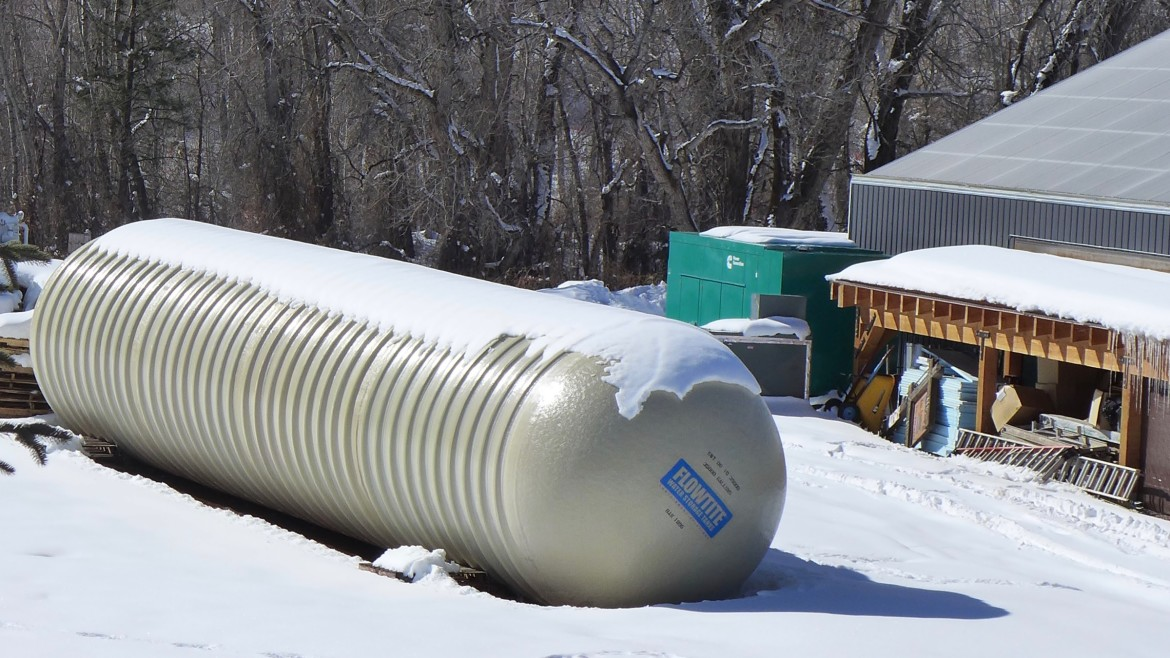 What appears to be an underground water tank, yet to be buried, next to the High Valley Farms grow facility in Basalt. High Valley Farms LLC has applied for the right to store water in an underground tank.