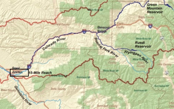A map showing the location of the 15-mile reach.