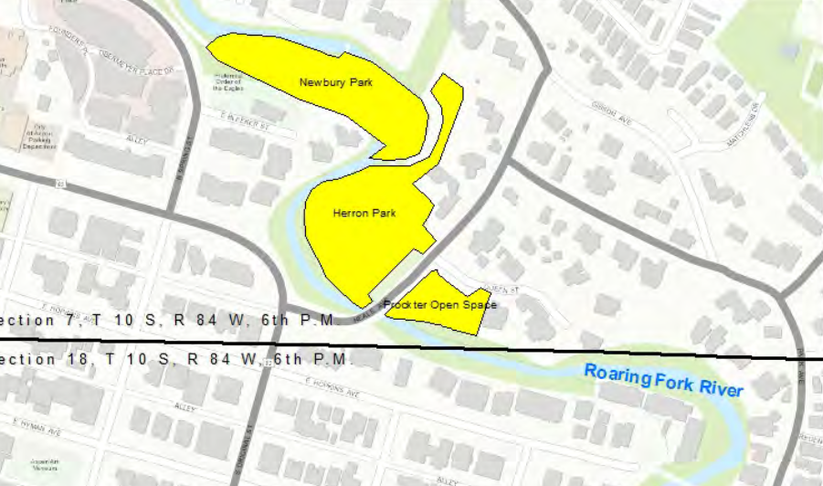 A map from the city's water rights application showing Newberry and Herron parks and Prockter Open Space.