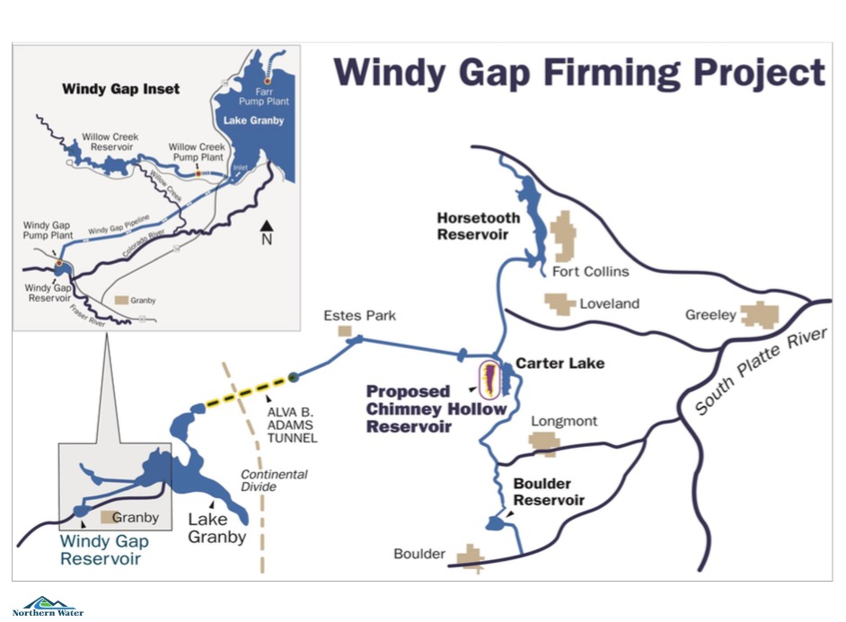 A graphic from Northern Water showing the lay out of Windy Gap Firming Project.