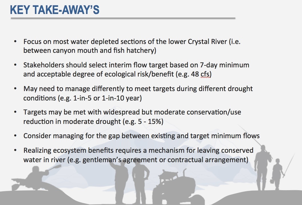 A slide from Lotic Hydrological as presented to the Colorado River District on May 23, 2016. The slide summarizes key points in the new Crystal River Management Plan.