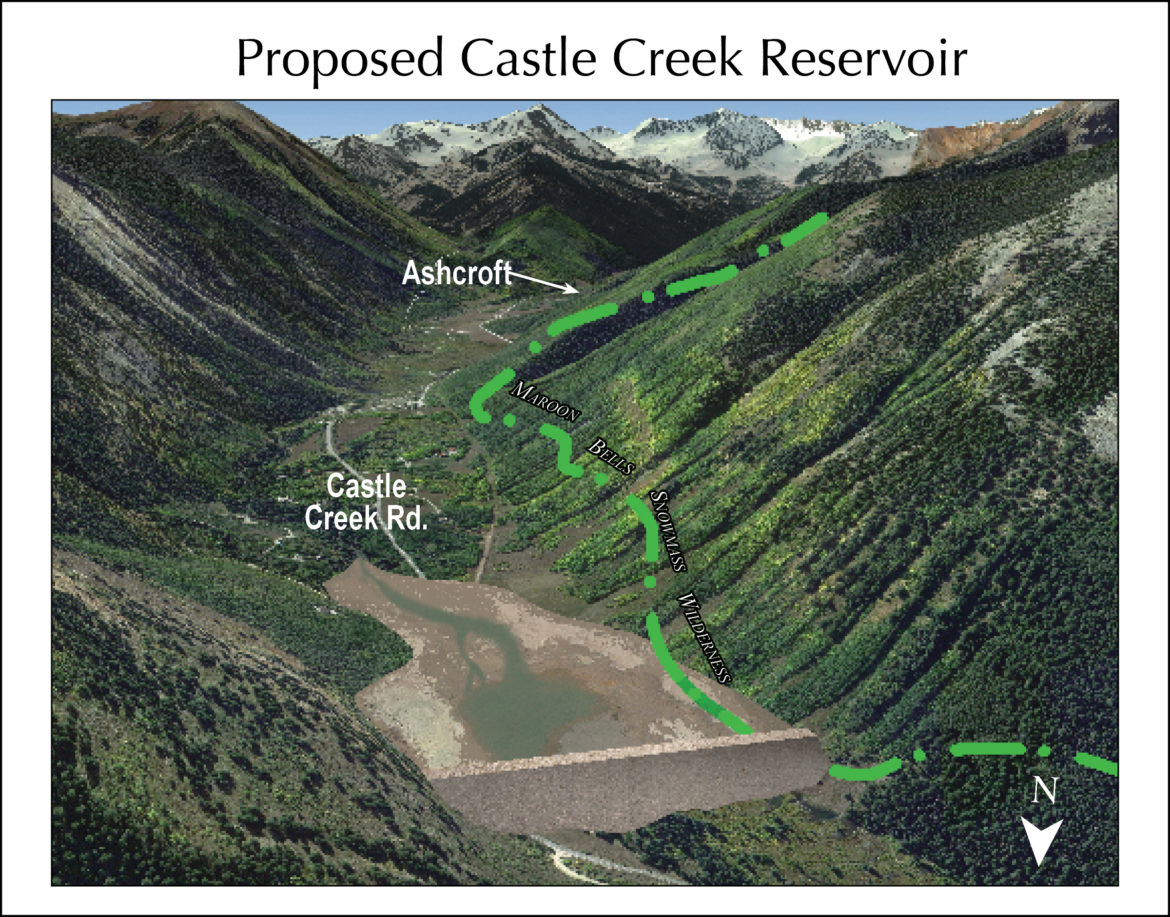 A rendering from Wilderness Workshop showing how a Castle Creek Reservoir might look on a seasonal basis after water has been drawn done to meet downstream needs.